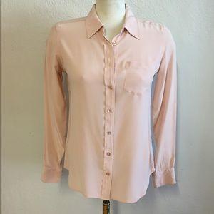 Pastel Pink Equipment Silk Blouse, S
